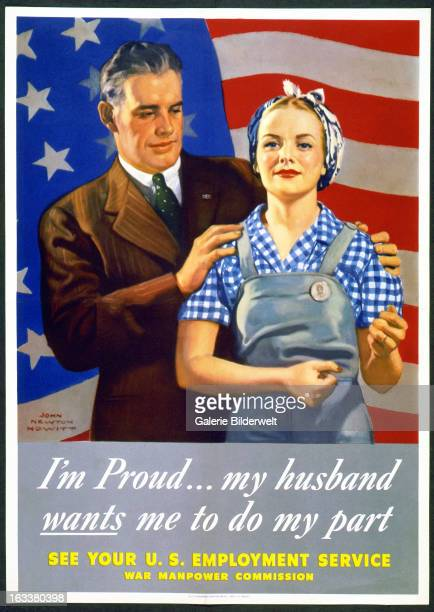 World War II American propaganda poster showing a husband in suit and wife in working clothes standing in front of US flagOriginal title I'm proud…my...