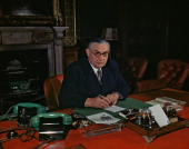 World War II August 1945 A portrait of Ernest Bevin the Foreign Secretary sitting at his desk