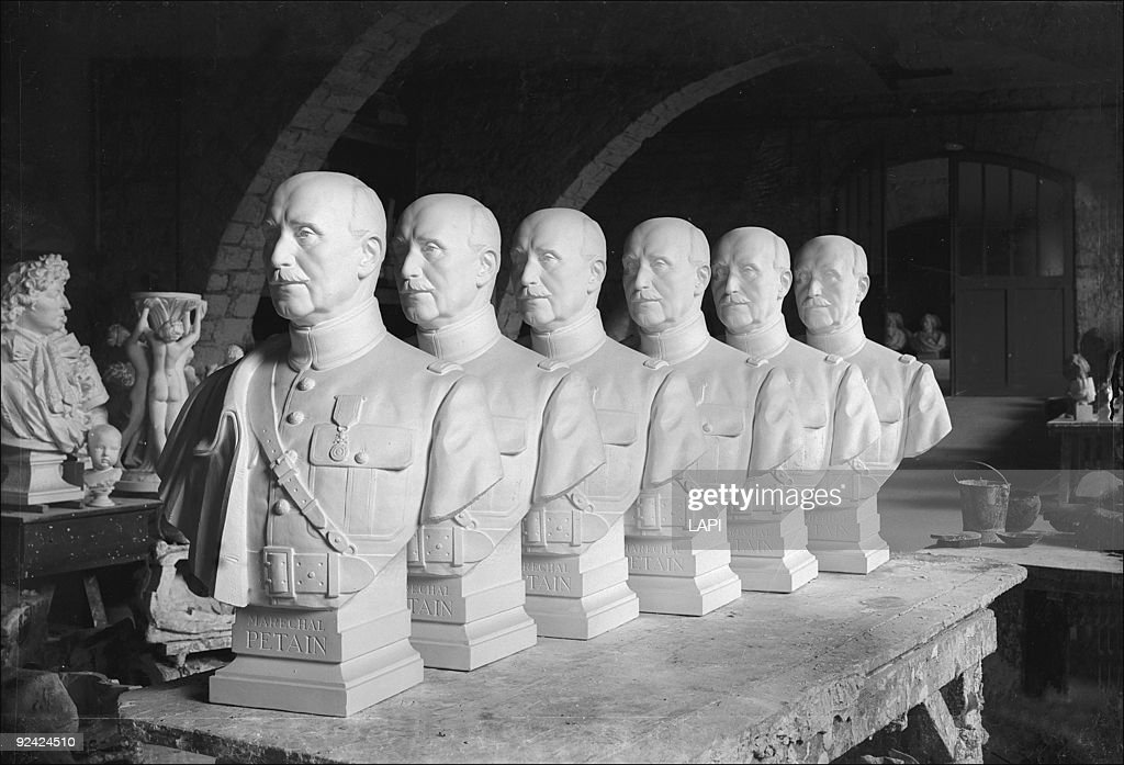 World War II. Busts of Marshal Petain made for town halls and prefectures. Workshops of the national museums. Paris, March 1943.