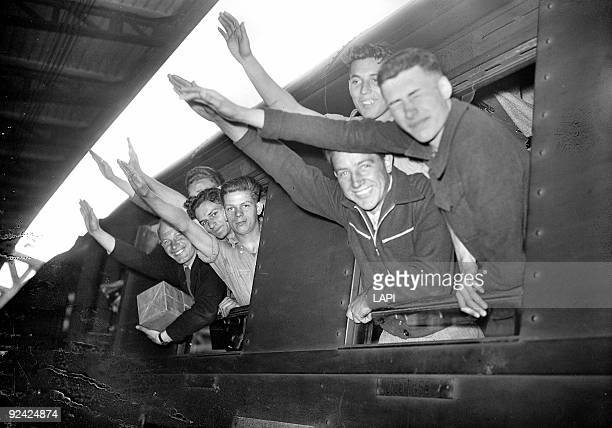 World War II Departure of a contingent of the French Waffen SS Paris June 1944
