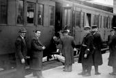 World War II Departure of Jews for an internment camp near Orléans area led by French gendarmes Paris gare d'Austerlitz May 1941