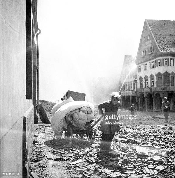 World War II During the advance of the Third United States Army in Germany Young German boy evacuating In 1945