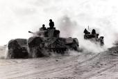 World War II Egypt Africa October 1942 British Churchill tanks advance through the desert sand during the historic Battle of El Alamein