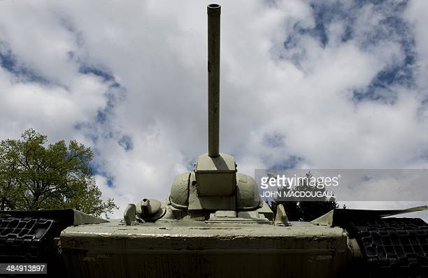 A World War II era Soviet T34 tank is on display at the Soviet War memorial near Berlin's Brandenburg Gate on April 15 2014 Germany's topselling Bild...