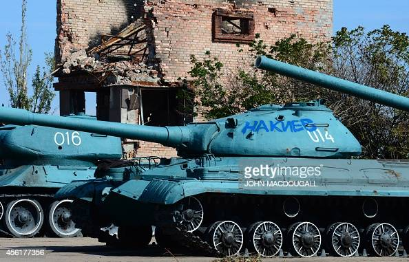 World War II era Soviet tank bearing an inscription reading 'To Kiev' is on display at the Savur Mohyla memorial in Snizhne some 80km east of Donetsk...