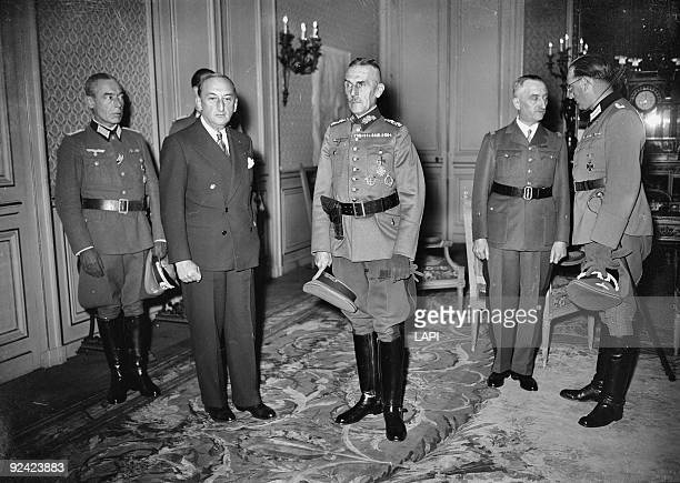 World War II Fernand de Brinon Generals Stülpnagel and Bridoux and on the right Colonel Speidel at the time of General Huntziger's death Paris War...