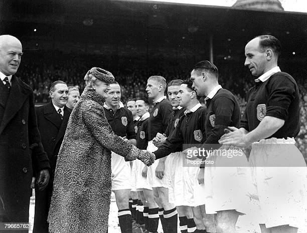 World War II Football 17th January 1942 Matt Busby introduces Mrs Winston Churchill to members of the scottish team before they met England at...