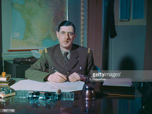 World War II French statesman and General Charles de Gaulle photographed at the Free French HQ at Carlton Gardens London