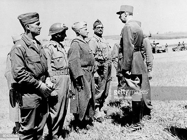 World War II General De Gaulle with an officer of the Moroccan tabors on the Italian front on June 30 1944