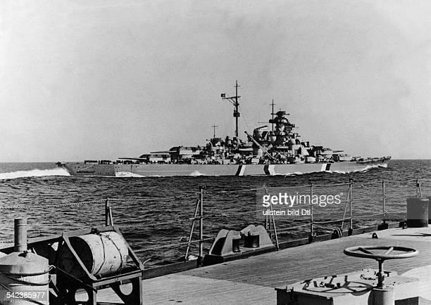 World War II German battleship 'Bismarck' seen from German heavy cruiser 'Prinz Eugen' May 1941