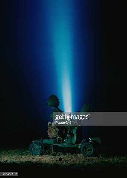 World War II January 1943 The ATS Man searchlights of the antiaircraft command are shone into the night sky