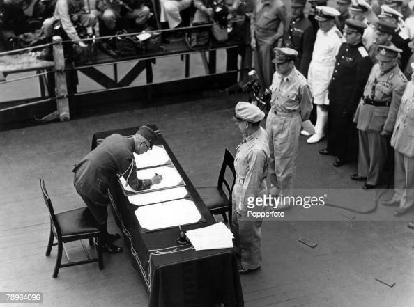 World War II Japanese Surrender Tokyo Bay 2nd September 1945 General Yoshijiro Umezu Chief of the Japanese Army General Staff signs the surrender...