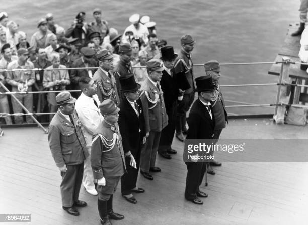 World War II Japanese Surrender Tokyo Bay 2nd September 1945 The Japanese envoys arrive aboard the 'USS Missouri' to sign the surrender document as...