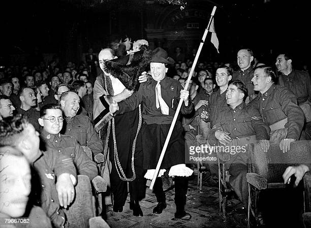 World War II London England 10th October Members of the crazy gang entertain troops at a London theatre