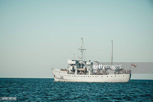 World War II navy ship sailing towards Dunkirk movie set