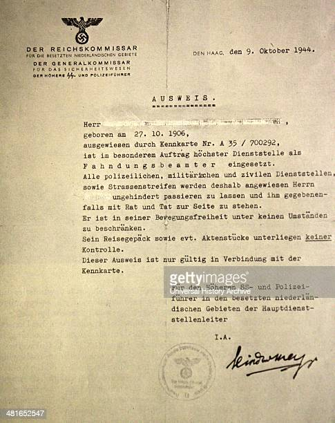 World War II Photograph of a letter to the heads of the SS and police in the Netherlands from the Reichkommissar for the occupied Netherlands dated...