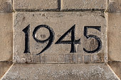End Year of World War II Carved on a Stone