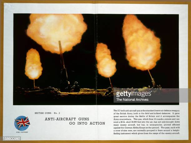 World War II poster British Guns No2 AntiAircraft Guns Go Into Action showing the British 37 inch antiaircraft guns which can launch a 28pound shell...
