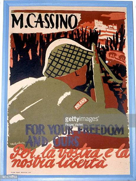 World War II Poster 'Monte Cassino' 'For your freedom and ours' 1944