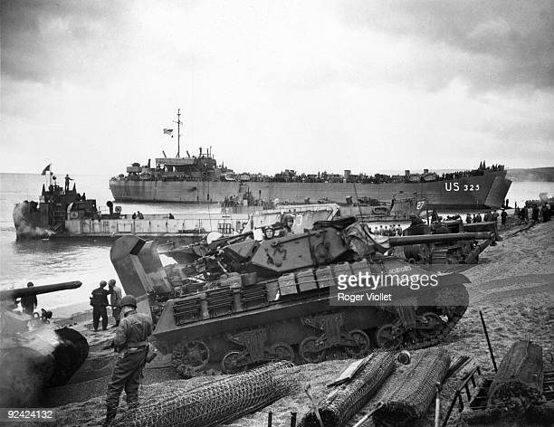 World War II Preparation of the landing in Normandy Loading of landing crafts in an English harbour
