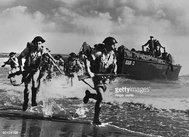 World War II Preparations for the landing British soldiers training on the North African coast landing from American barges