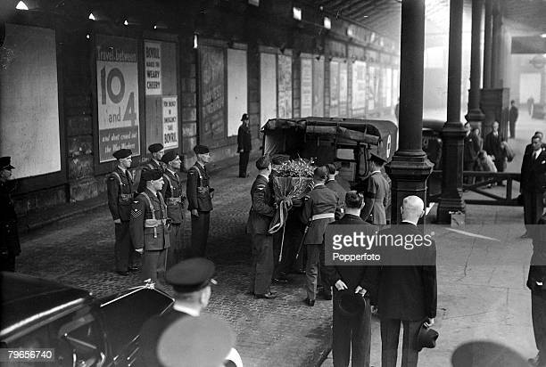 28th August 1942 The coffin of the Duke of Kent is pictured at Euston Station London enroute for burial at Windsor Castle