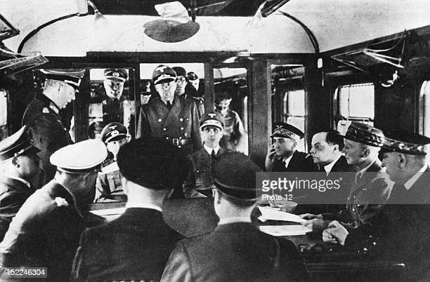 World War II Signing of the armistice at Rethondes France in the forest of Compiegne On the l Hitler in the middle Leon Noel Marshal Petain's...