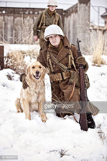 US World War II Soldier Posing With Dog While Patrolling