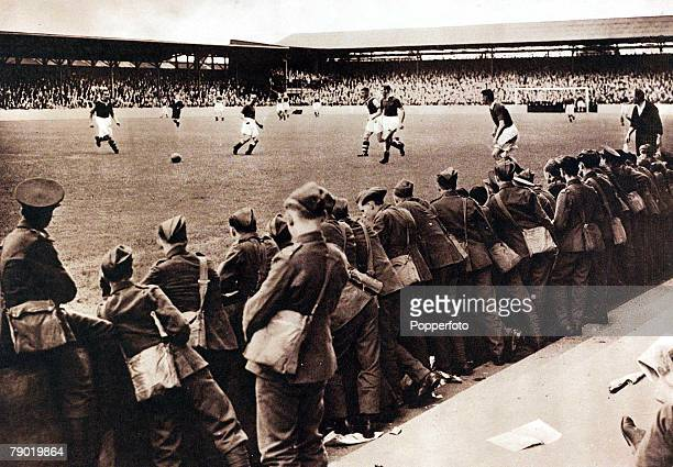 World War II Sport September 1939 Soldiers watch the last game to be played at Upton Park as the outbreak of World War II stops all league football