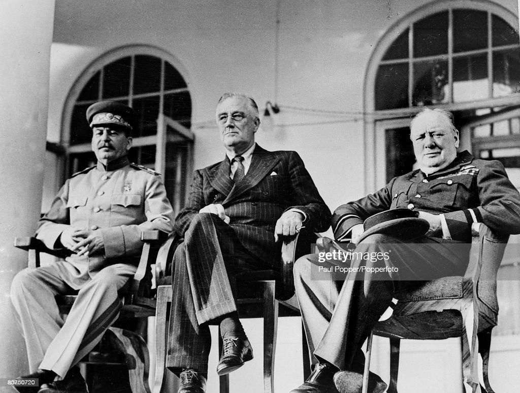November / December 1943 The 'Big Three' LR Russia's Joseph Stalin USA President Franklin Roosevelt and British Prime Minister Winston Churchill