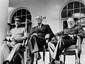 November / December 1943 The 'Big Three' LR Russia's Joseph Stalin USA President Franklin Roosevelt and British Prime Minister Winston Churchill