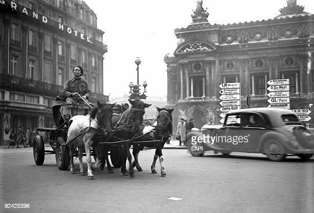 World War II Traffic at the place de l'Opéra Paris November 1942