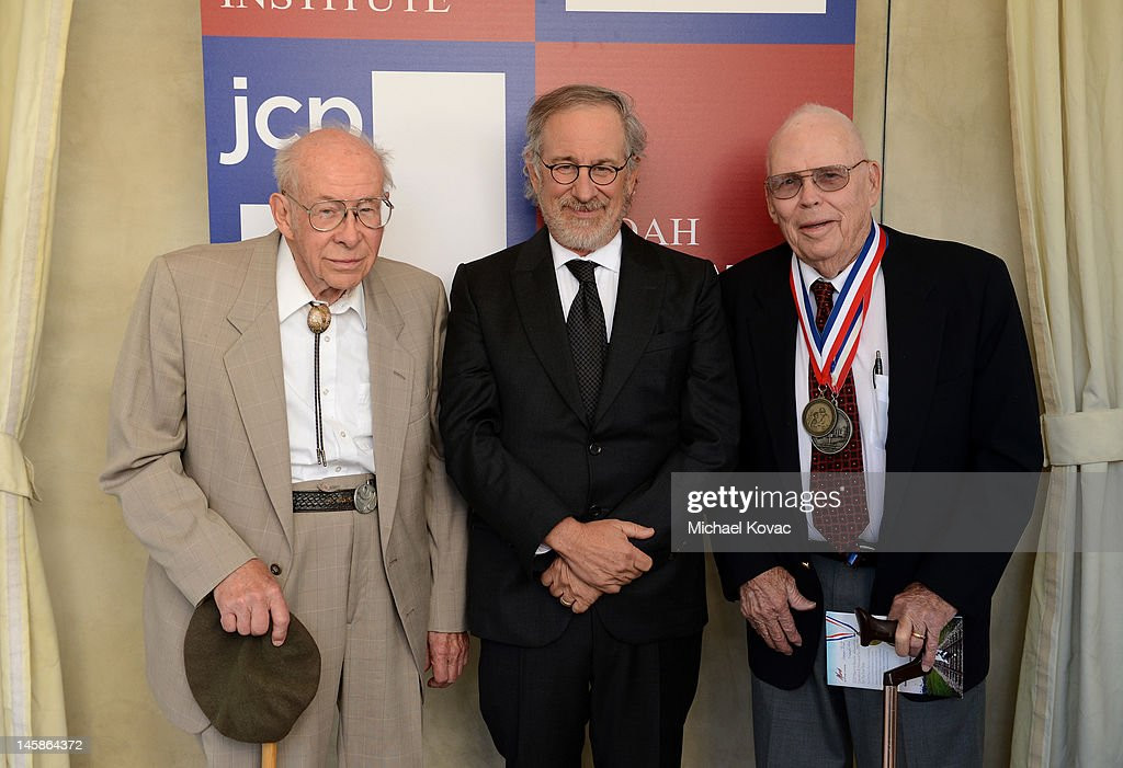 World War II veteran Arthur Langhorst, Shoah Foundation Founder <a gi-track='captionPersonalityLinkClicked' href=/galleries/search?phrase=Steven+Spielberg&family=editorial&specificpeople=202022 ng-click='$event.stopPropagation()'>Steven Spielberg</a> and World War II veteran James Sanders attend the USC Shoah Foundation Institute Ambassadors for Humanity Gala held at the Grand Ballroom at Hollywood & Highland Center on June 6, 2012 in Hollywood, California.