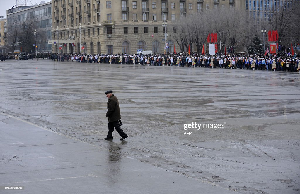 World War II veteran crosses a square during a military parade marking the 70th anniversary of the Stalingrad Battle, in the Russian city of Volgograd, formerly Stalingrad, on February 2, 2013. Russia marked today the 70th anniversary of a brutal battle in which the Red Army defeated Nazi forces and changed the course of World War II.