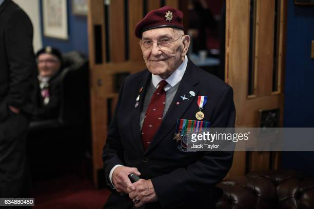 World War II veteran Ted Pieri is pictured ahead of a photo call for the launch of the Veterans Black Cab ride at Wellington Barracks on February 12...