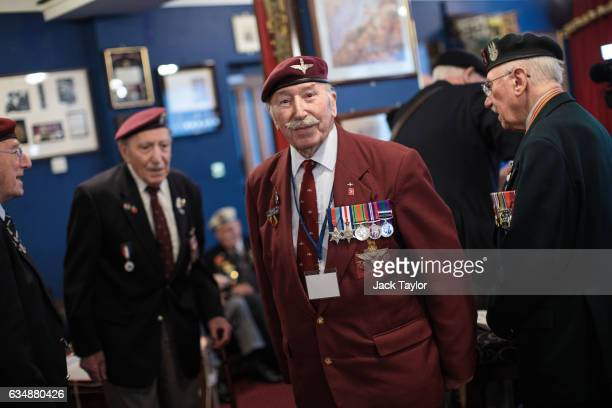 World War II veteran Tom Schaffer is pictured with other veterans ahead of a photo call for the launch of the Veterans Black Cab ride at Wellington...