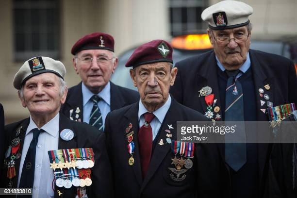 World War II veterans are pictured during a photo call for the launch of the Veterans Black Cab ride at Wellington Barracks on February 12 2017 in...