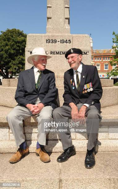 World War II veterans Major Michael Oakley and Robert Hudson at the War Memorial in Exmouth Devon