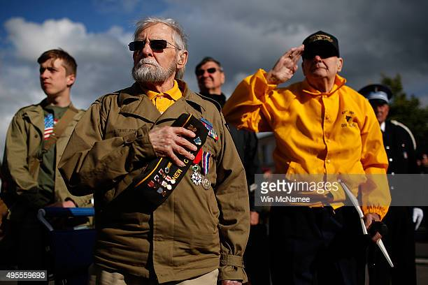 World War II veterans who took part in the invasion of Normandy William Spriggs and Francis Markuins both from the 83rd Infantry Division stand...