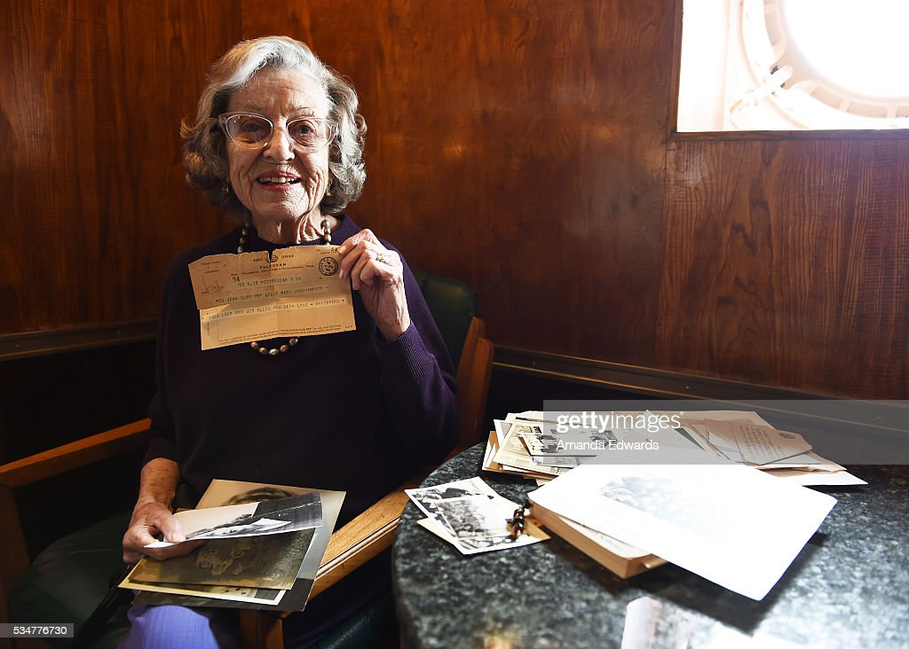 World War II 'War Bride' Jean Dahler holds an old telegram while attending the 80th anniversary celebration of the Queen Mary's maiden voyage at The Queen Mary on May 27, 2016 in Long Beach, California. Dahler, now 91, departed Southampton, England aboard the Queen Mary on February 3, 1946 for her new life in the United States after marrying a G.I. soldier.
