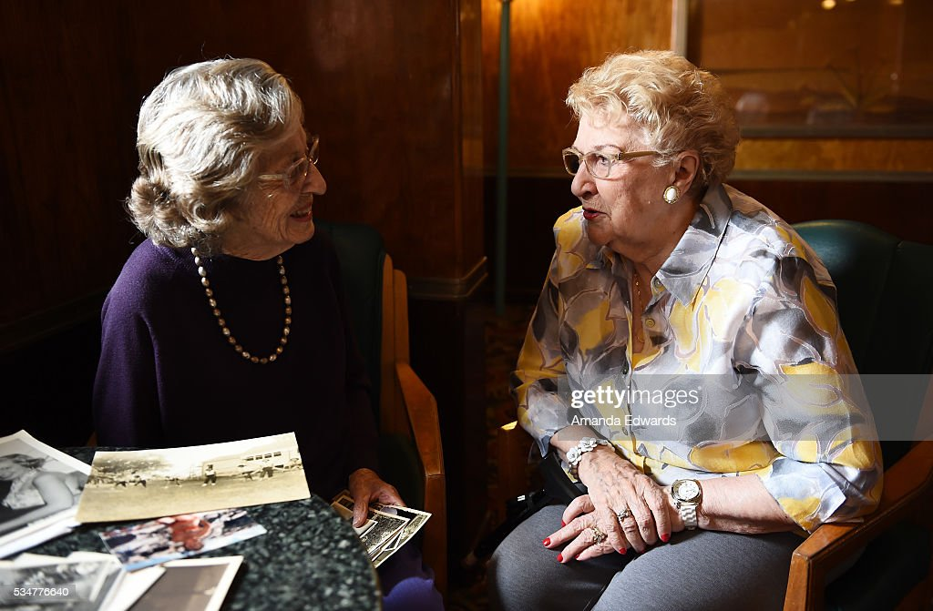 World War II 'War Brides' Jean Dahler (L) and June Boots Allen attend the 80th anniversary celebration of the Queen Mary's maiden voyage at The Queen Mary on May 27, 2016 in Long Beach, California. Both ladies departed Southampton, England aboard the Queen Mary on February 3, 1946 for new lives in the United States after marrying G.I. soldiers.