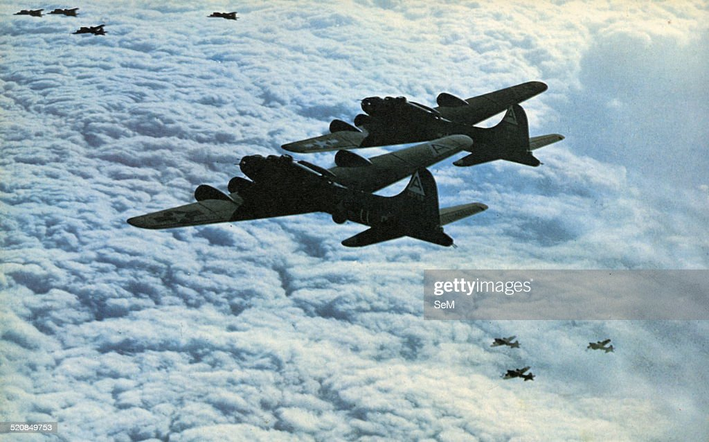World War II war in Italy 1943 1944A squadron of American Flying Fortresses in flight photographed during an action of aerial bombing of Italian...