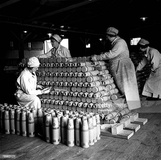 World War II 15th June Women workers stack ammunition shells at a factory in Woolwich London