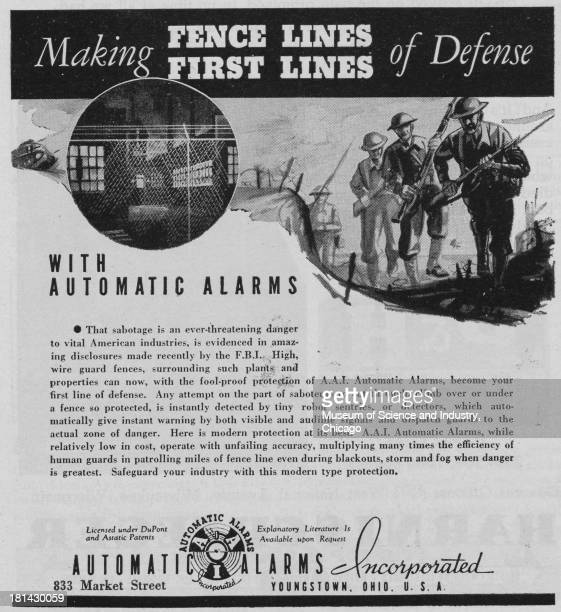 World War IIera black and white advertisement 'Making Fence Lines First Lines Of Defense' for Automatic Alarms Incorporated showing a tank and...