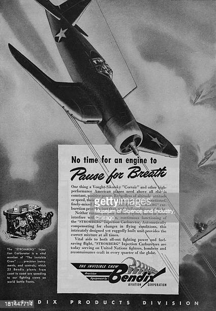 World War IIera black and white advertisement 'No Time For An Engine To Pause For Breath' for Bendix Aviation Corporation showing a VoughtSikorsky...
