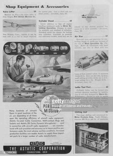 World War IIera black and white advertisement 'Off On Another Perilous Mission' for the Astatic Corporation showing images of various coaxial cable...