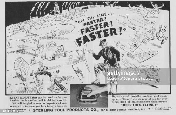 World War IIera black and white advertisement 'Off The Line Faster Faster Faster' for Sterling Tool Products Company with image of man in a kilt in...