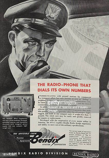 World War IIera black and white advertisement 'The Radio Phone That Dials Its Own Number' for Bendix Aviation Corporation showing an airline pilot...