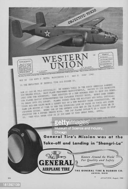 World War IIera black and white advertisement 'Western Union' for the General Tire And Rubber Company showing a twin engine Allied North American...