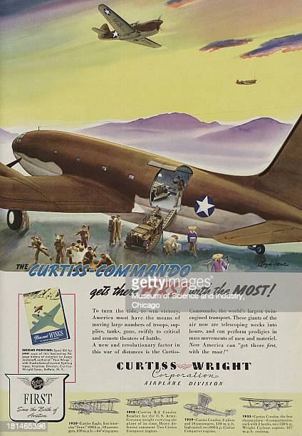 World War IIera color advertisement 'CurtissCommando Gets There First With The Most' for Curtiss Wright Corporation/Airplane Division showing an...